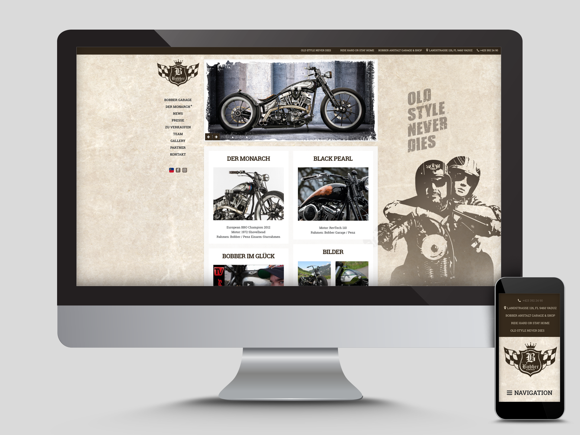 SM Graphic Design Referenzen Bobber Garage Website