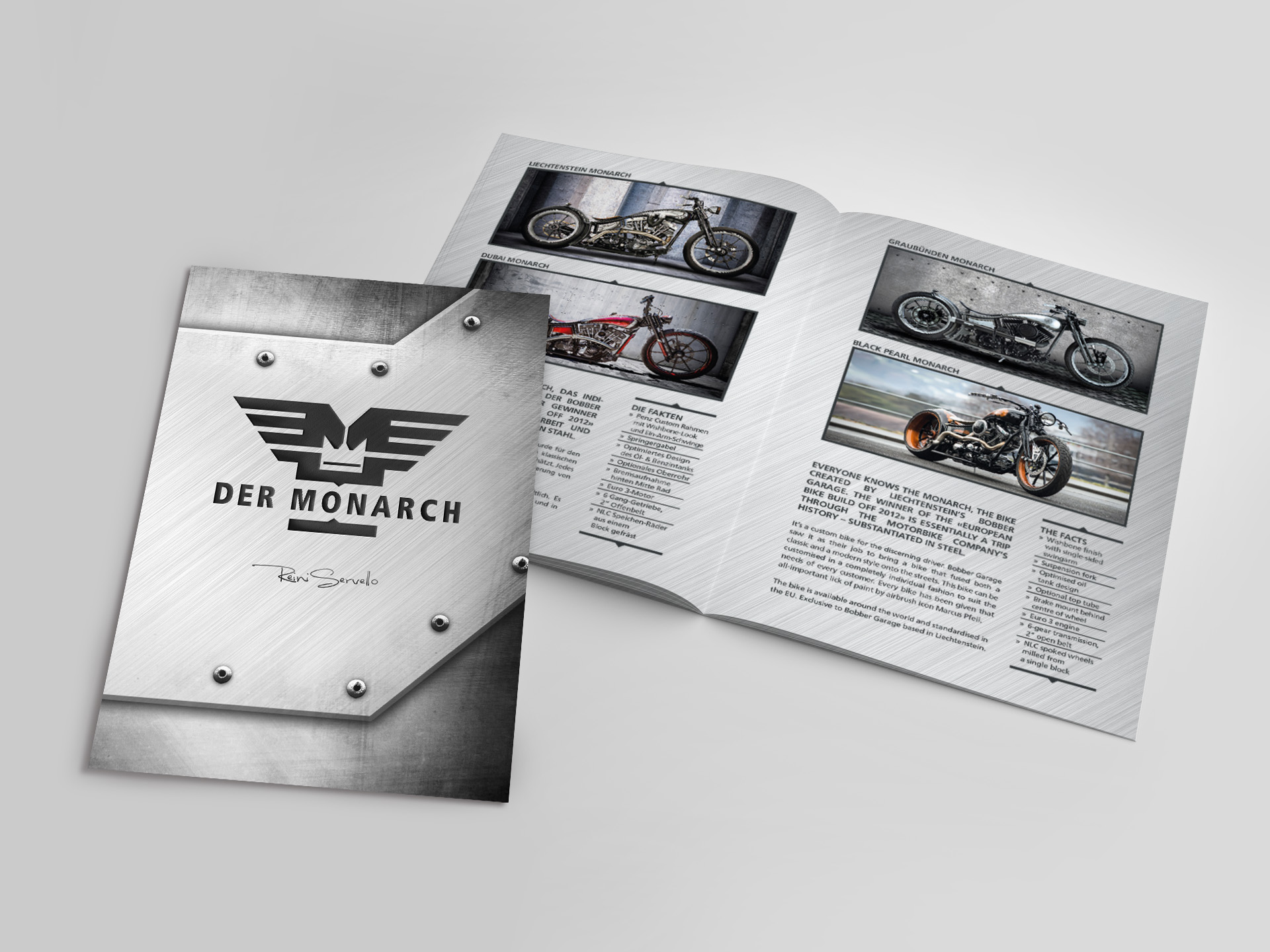 SM Graphic Design Referenzen Illustration Fotoretouche Layout Flyer Broschüre Imageflyer Falter Bobber Garage Liechtenstein Der Monarch Bike Harley Davidson Motorrad
