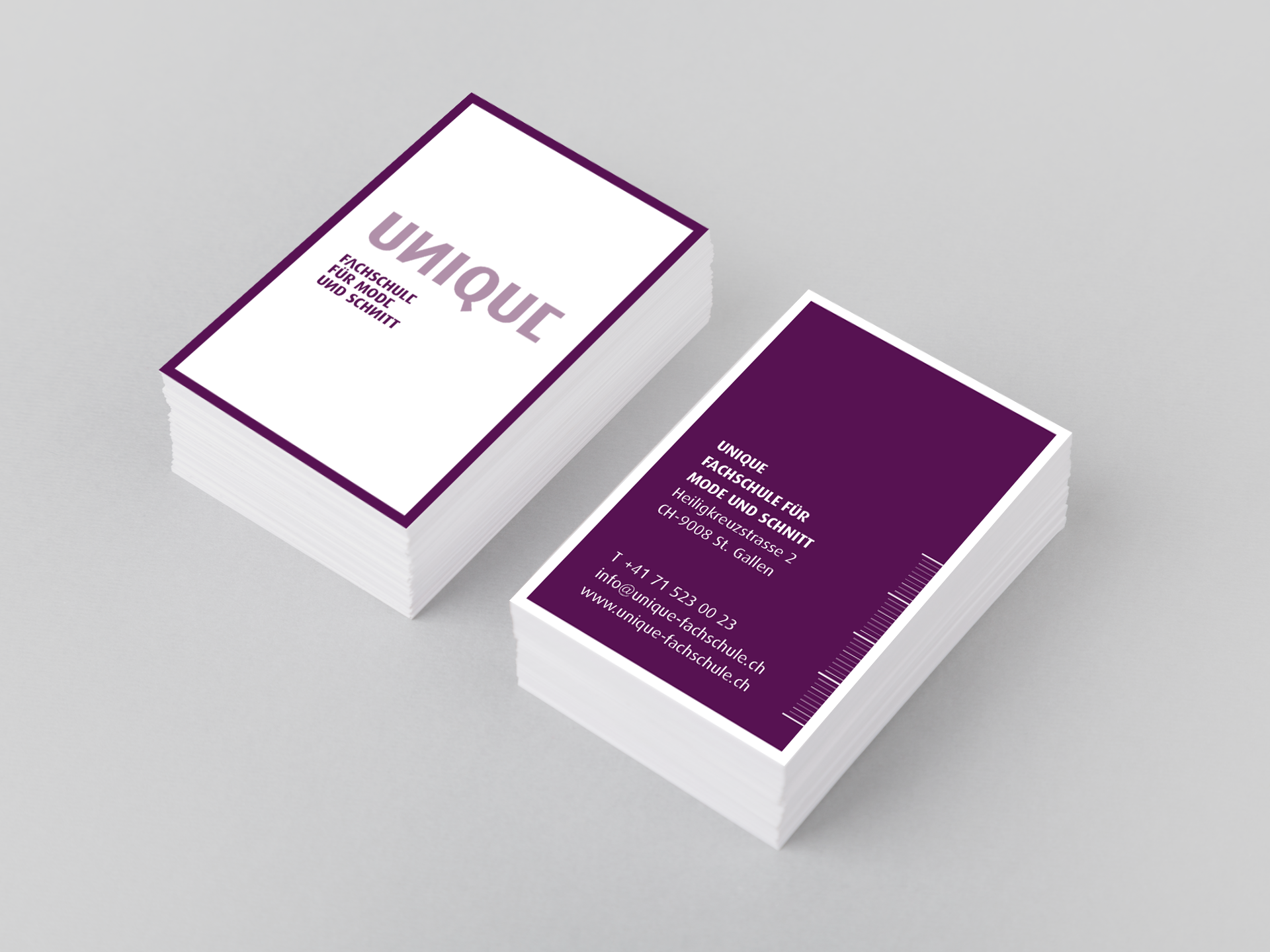 SM Graphic Design Referenzen Logo Visitenkarten Briefpapier Couvert Flyer Broschüren Facsheets Worddokumente Webdesign Corporate Identity Unique Fachschule für Mode und Schnitt St. Gallen Barbara Keel